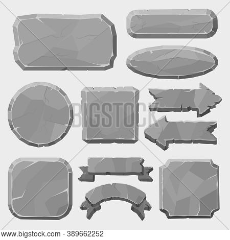 Stone Game Boards. Granite Rocks Buttons, Grey Stone Banner, Arrows And Panels, Stone Ui Elements Fo