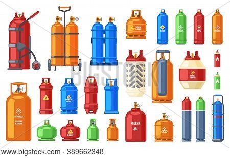 Gas Steel Cylinder. Gas Tank, Oxygen, Propane Or Butane Metal Flammable Containers, Helium, Petroleu