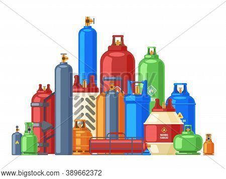 Gas Cylinder Storage. Propane, Butane Or Helium Steel Cylinders, Metal Flammable Gas Containers, Fue