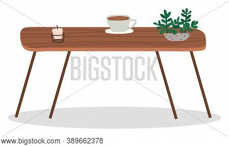 Brown Table In Coffeehouse Or Cafe. Wooden Surface With Coffee Cup, Houseplant And Candle. Place For