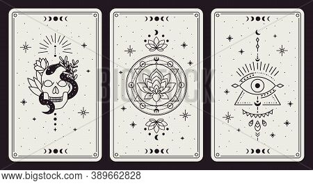 Magic Occult Cards. Vintage Hand Drawn Mystic Tarot Cards, Skull, Lotus And Evil Eye Magical Symbols