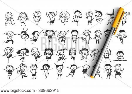 Children Doodle Set. Collection Of Hand Drawn Sketches Templates Patterns Of Happy And Sad Drawing C