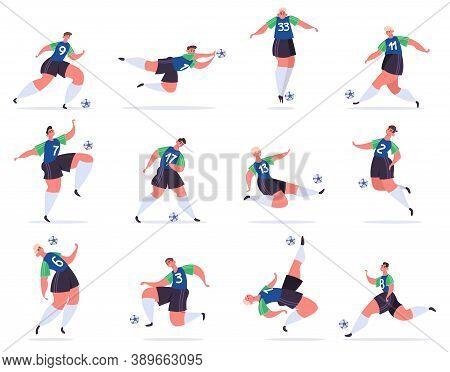 Soccer Players. Football Professional Sportsmen, Athletes In Football Uniform Kicking Ball, Soccer P
