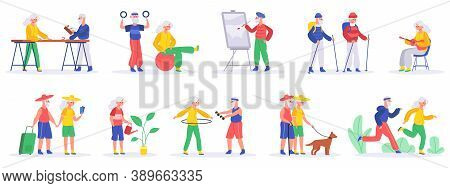 Elderly People Hobby. Senior People Retirement Exercising And Engage In Creative Activities, Healthy