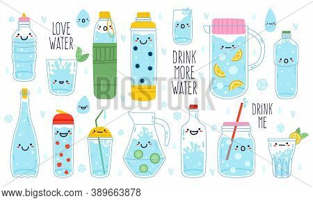 Doodle Drink More Water. Cute Funny Hand Drawn Water Mascots In Mug, Glass And Bottle, Healthy Ritua