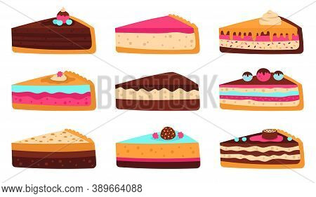 Cake Slices. Sweet Sliced Birthday Pie, Cheesecake, Layered Sponge Cake, Delicious Pastry Glaze Frui