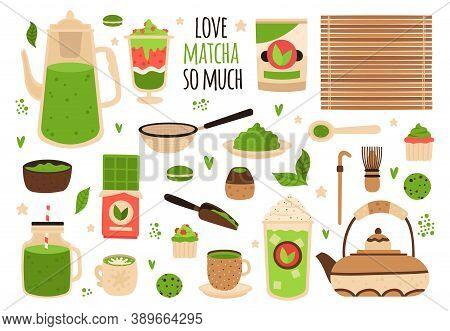 Matcha Tea. Matcha Powder, Tea Pot, Sweets And Matcha Pastry, Healthy Delicious Food And Beverages,