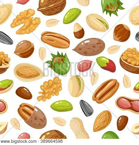 Seeds And Nuts Pattern. Nut, Grain And Seed Seamless Pattern, Hazelnut, Nut Food Pistachio And Sunfl