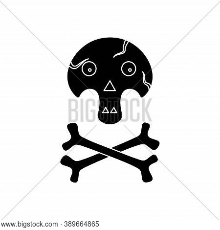Skull With Bones Icon For Halloween. Funny Skull. Sign Of Danger To Life. Skull And Crossbones.
