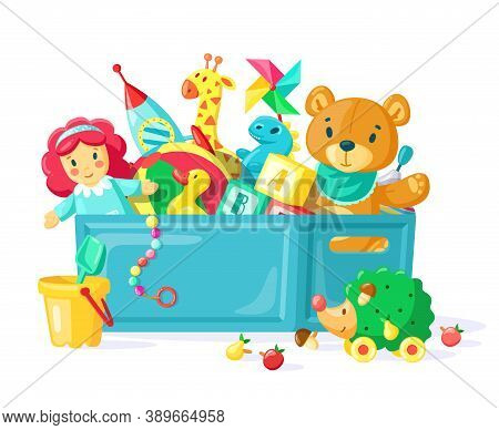 Baby Toys In Box. Children Toys In Plastic Container, Box Full Of Toys, Boys, Girls Inventory For Ki