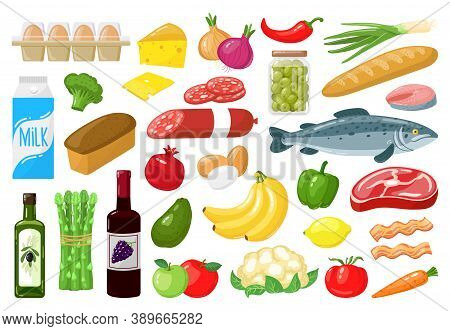 Grocery Products. Food Shopping Vegetables, Milk, Meat, Bread, Cheese And Fruits, Healthy Everyday M