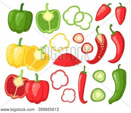 Cartoon Peppers. Sweet Red, Yellow And Hot Peppers, Bell Pepper, Juicy Farm Vegetables, Pepper Slice