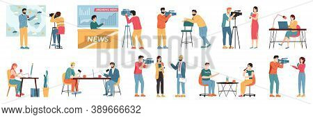 Media Tv Journalists. Talk Show Hosts, News Presenters And Broadcast Journalist, Television Industry