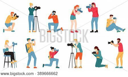 Photographer Characters. Paparazzi, Cameraman Creative People Take Photo Shot, Reporters And Journal