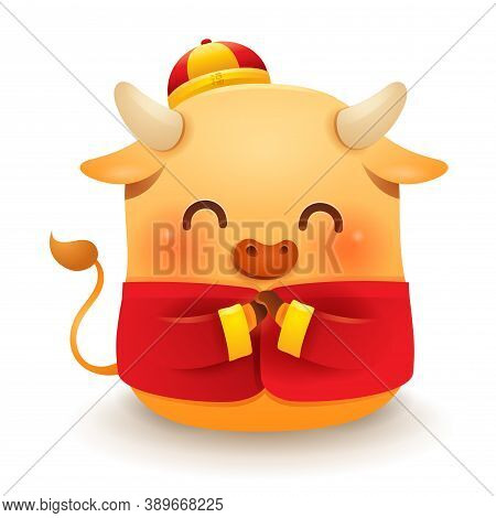 Cute Little Ox With Traditional Chinese Costume Greeting Gong Xi Gong Xi. Chinese New Year. Year Of