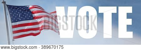 VOTE poster banner USA Flag over blue sky background
