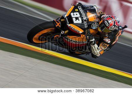 CHESTE - NOVEMBER 10: Marc Marquez during GP of the Comunitat Valenciana, on November 10, 2012, in Ricardo Tormo Circuit of Cheste, Valencia, Spain