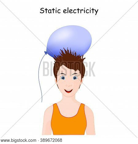 Static Electricity And Human Hair. Cute Little Girl With Balloon Doing Electrostatic Experiment. Sch