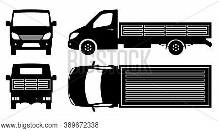 Flatbed Truck Silhouette On White Background. Vehicle Monochrome Icons Set View From Side, Front, Ba