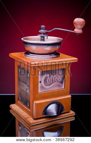 Close-up of an old-fashioned coffee grinder