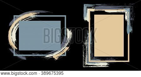 Advert Frames With Paint Brush Strokes Vector Collection. Box Borders With Painted Brushstrokes On B
