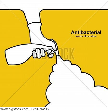 Landing Page Antibacterial. Web Banner Template. Man In Gloves Hold Bottle Of Antiseptic Spray. Vect