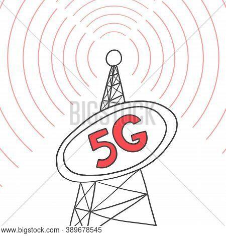 Telecommunication Tower Internet Broadcasts 5g, Vector Illustration. Internet Distribution Equipment