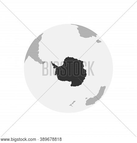 Antarctica Continent Map. Earth Globe. World Map In Circle. Globes Web Icon. Vector Illustration