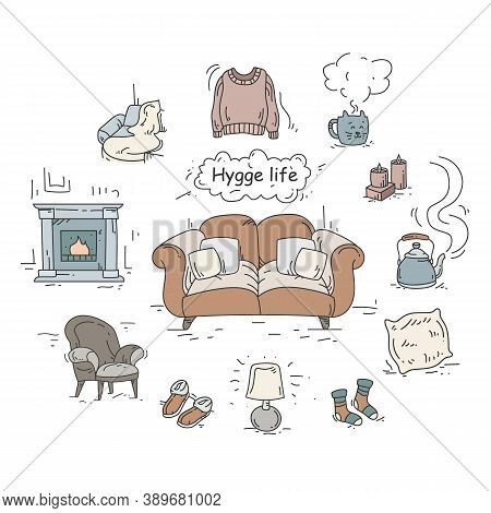 Hygge Elements Color Icons Set. Cute, Cozy Attributes Collection For Hominess Atmosphere. Hygge Life