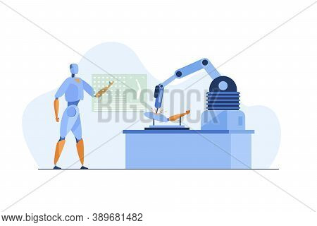 Robot Using Application And Robotic Arm To Repair Details. Science, Technology. Flat Vector Illustra
