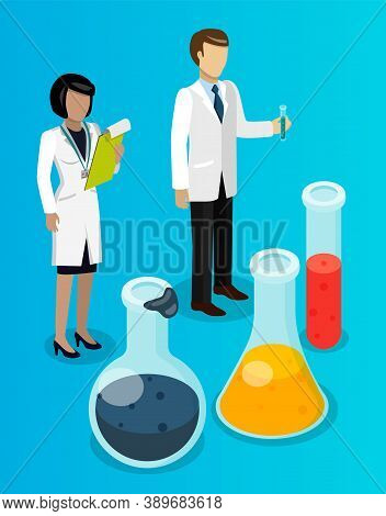 Isometric Image Of Chemists With Laboratory Equipment.petroleum Refining. Chemical Experiments. Vess