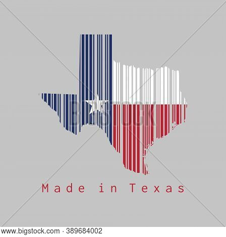 Barcode Set The Shape To Texas Map Outline And The Color Of Texas Flag On Grey Background, Text: Mad