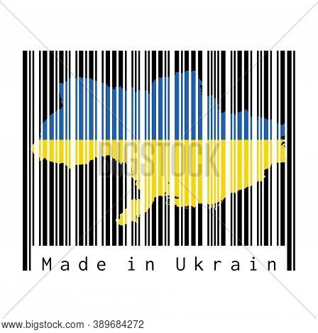 Barcode Set The Shape To Ukraine Map Outline And The Color Of Ukraine Flag On Black Barcode With Whi