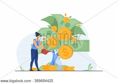 Woman Investing And Getting Profit. Money, Finance, Watering Plant. Flat Vector Illustration. Invest