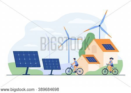 Active People On Bikes, Windmills And House With Solar Panel On Rooftop Flat Vector Illustration. Ca