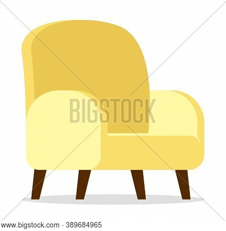 Cartoon Simple Yellow Armchair With Wooden Brown Legs. Upholstery Furniture For The Living Room. Arm
