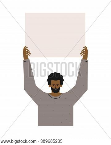 Vector Isolated Flat Concept. Single Picket And Strike Of African American In Gray Sweatshirt. Fight