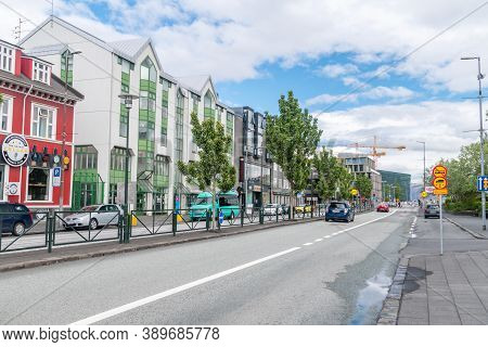 Reykjavik, Iceland - June 20, 2020: Laekjargata Street In Downtown Reykjavik And Takes Its Name From