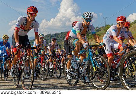Revel, France, September 15, 2020 : Inside The Peloton Of Tour De France. Tour De France Has Been De