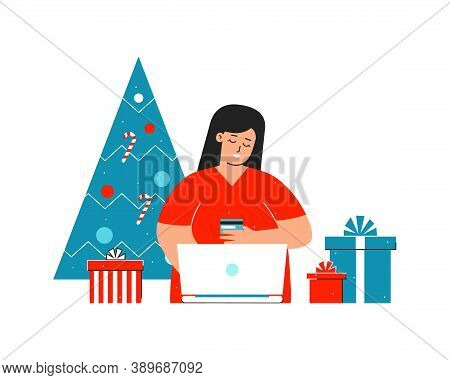 Vector Isolated Flat Illustration About Online Shopping. Cartoon Character Of Happy Caucasian Woman.