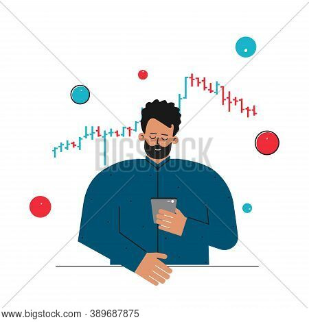 Vector Flat Concept About Financial Markets. Caucasian Man Is Trader Working Online On Stocks Exchan