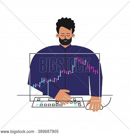 Vector Concept About Financial Markets. Caucasian Man Is Trader Working Online On Stocks Exchange. F