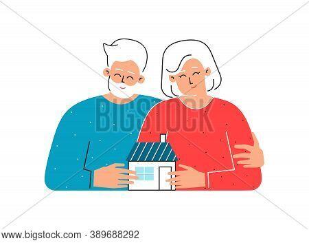 Vector Flat Isolated Illustration. Cartoon Senior Owners Hold Little Home. Old Caucasian Man Hugs Hi