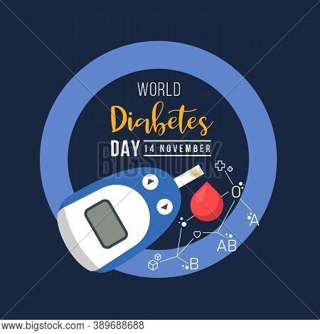 World Diabetes Day With Glucose Testing Blood And Blood Type Connect Link Around Drop Blood On Blue