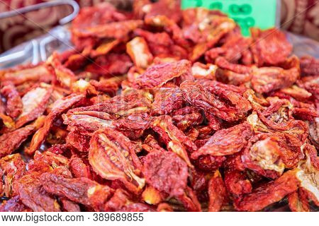 Sun Dried Italian Tomatoes At The Grocery Market
