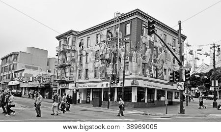 SAN FRANCISCO, US - OCTOBER, 19: Jazz Mural in Broadway Street and Columbus Avenue on October 19, 2011 in San Francisco. This popular mural painting of Bill Weber is located in North Beach district