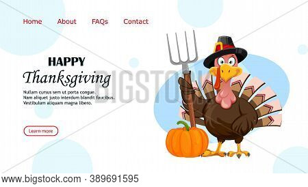 Happy Thanksgiving Day Greeting Card. Funny Cartoon Character Thanksgiving Turkey Bird. Vector Illus