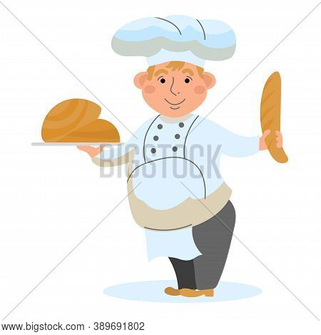 Baker With Baked Goods. Vector Illustration In The Style Of Cartoon Happy Baker. Man Character