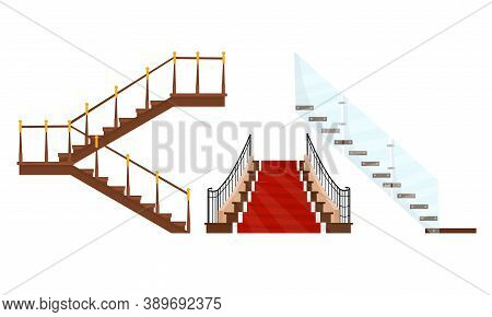 Stairway Or Staircase As Vertical Distance With Steps Vector Set
