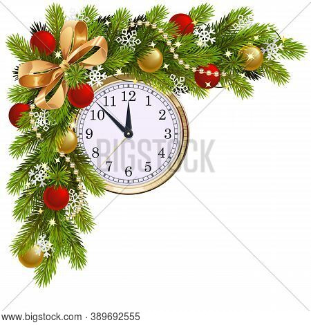 Vector Fir Corner With Clock Isolated On White Background